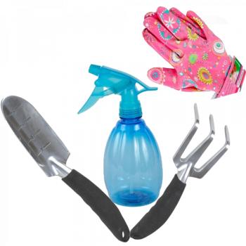 Набор садовых инструментов с перчатками и распылителем