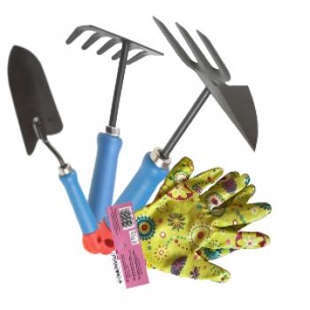 Набор садовых инструментов с перчатками