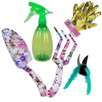 Набор садовых инструментов с секатором, перчатки и распылителем